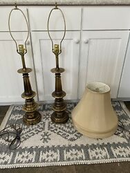 """Stiffel Brass Table Top Electric Lamps Set of 2. 36"""" Tall With Original Shades $200.00"""