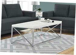 Modern for Living Room Center Table with Metal Coffee Table White Chrome $178.29