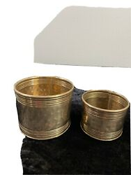 Pair of Brass Vintage Plant Pots Made in India 4quot; amp; 3quot; very good condition $24.98
