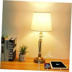 Touch Crystal Table Lamp with 2 USB Ports 3 Way Dimmable Nightstand Lamp $49.91