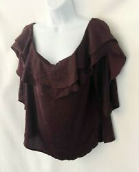 New York amp; Co. Women#x27;s Boho Size S Ruffle Top Off Shoulder Pullover Blouse $9.99