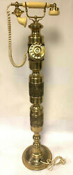 RARE Vintage 1960#x27;s Brass Floor Model Rotary Dial Phone 40 1 2quot; Tall UNUSUAL $269.99