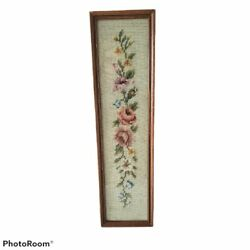 Victorian Vintage Floral Needlepoint Picture $38.00