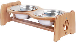 X ZONE PET Raised Pet Bowls for Cats amp; Dogs Adjustable Bamboo Elevated Dog Cat $23.99