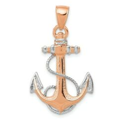14k Rose Gold Nautical Anchor Ship Wheel Mariners Rope Pendant Charm Necklace $199.45