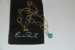 Erwin Pearl Gold Over Sterling Silver Dichroic Glass Necklace. Rare $129.00
