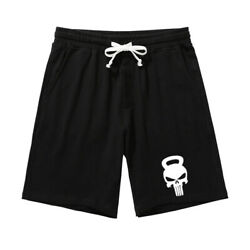 New 100% Cotton Mens Knee Length Shorts Classic Cool Men Punisher Printed Shorts $19.42