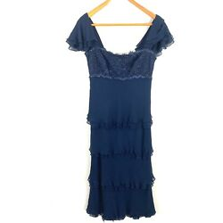 Tadashi Collection Womens Cocktail Evening Dress Size 10 Blue Beaded Ruffle $49.49