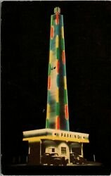 Allentown PA Dorney Park Musical Tower Neon Lights Night View Old Cars Postcard $8.99