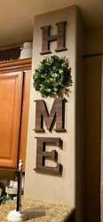 LARGE Rustic Wall Hanging Wood Home Sign Decor Cute Artificial Eucalyptus Wreath $39.95