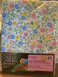 Vintage NOS Sears Calico Garden Flower Power Perma Prest Percale FULL Flat Sheet $21.99