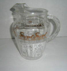 Vintage Glass Amish Pattern Gold amp; White Water Pitcher with Ice Lip $16.99