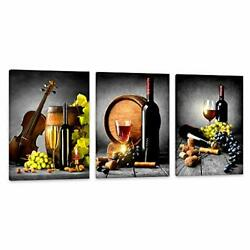 Wall Art For Kitchen Canvas Artwork Fruits Grapes Wine Bottle Foods Canvas Pa... $40.44