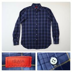 Isaia Napoli Mens 16 Navy Blue Plaid Button Front Dress Shirt Italy Size 16 41 $67.49