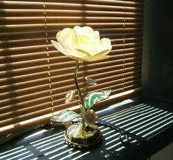 Lotus Flower Touch Lamp Glass Metal Flower Table Top Touch 3 Way Lamp $59.95