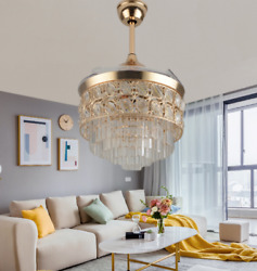 42quot; Retractable Gold Crystal Ceiling Fan Lighting Remote LED 3 Color Chandelier $218.69