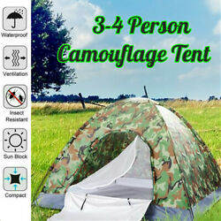 Outdoor Camouflage Camping Tent Foldable Quick Shelter Hiking For 3 4 Persons $28.79