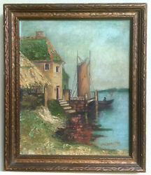 Antique Oil on Canvas painting of Seaside with Frame $125.00