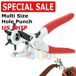 9quot; Leather Hole Punch Heavy Duty Hand Pliers Belt Holes 6 Sized Puncher Tool New $7.95