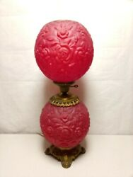 Double Ruby Red Globe Gone With The Wind Lamp 30quot; $499.00