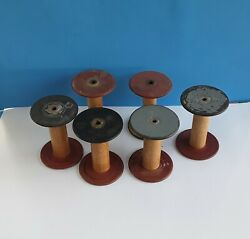 LOT OF 6 ANTIQUE VINTAGE WOODEN INDUSTRIAL MILL SPOOLS 5 1 2quot; $32.00