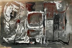 Vintage Abstract Shapes Oil Painting Mid Century Modern Art Signed Armstrong $225.00