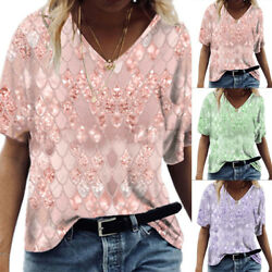 Summer Women Short Sleeve Loose T shirt Top Fish Scale Print Casual Blouse Tunic $13.69