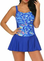 Ekouaer Swim Dress One Piece Bathing Suit Skirted Swimsuits for Women Ruched Ret $63.99