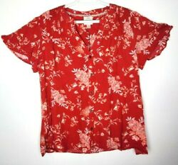 Knox Rose Womens Size Medium Red Floral Pintucked Flutter Sleeve Button Top $19.99