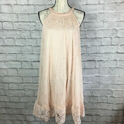 Adrianna Papell Blush Pink Floral Lace Dress With Pearl Collar Size 8 $35.00
