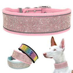 Soft Rhinestone Dog Wide Collar Bling Studded Necklace Reflective for M L XL Dog $12.99
