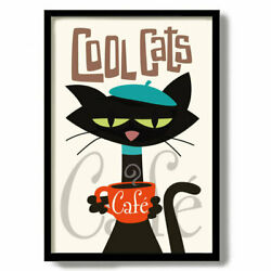 Black Cat Print French Cafe Coffee Sign Gift Idea Kitchen Art Print Mid Century $13.99
