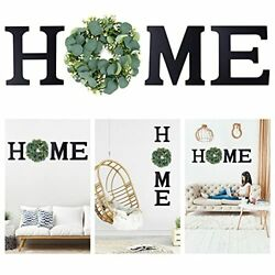 Newtion 11.8quot; Wooden Home Sign Wall Letters with Wreath Artificial Eucalyptus... $36.77