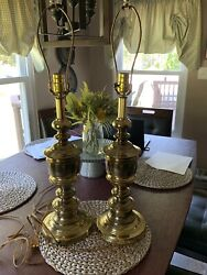 Vintage Baldwin Turned Brass Table Lamps Made in U.S.A. This Is For PAIR $250.00