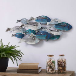 Coastal School of Fish Metal Wall Art Metal Crafter with Hanging Hooks Installed $57.91