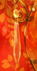Lot of 6 Clear Crystal Glass Icicle Chandelier Replacement Drop Prisms 1970 80 $24.00
