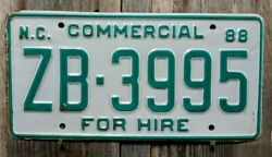 🐾 1988 NORTH CAROLINA quot;COMMERCIAL FOR HIREquot; LICENSE PLATE