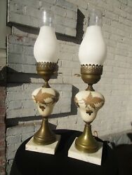 Pair Vintage Lamps Satin Glass Gold Leaves Hurricane Marble Brass 1950#x27;s $89.97