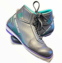 Vintage Heierling SNS Cross Country Ski Boots ITALY Leather TEAL GRAY Size 41 $29.20
