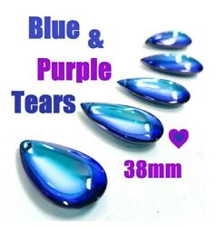 5 Blue Rainbow Smooth Teardrop Chandelier Crystals 38mm Foiled FREE SHiPPiNG $13.99