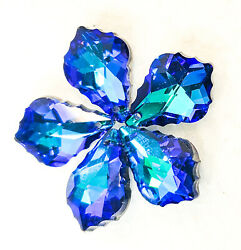 5 Blue Rainbow French Cut Chandelier Crystals 50mm Foiled FREE SHiPPiNG $16.99