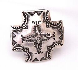Navajo Vince Platero Concho Cross Adjustable Ring Native American Signed $235.00