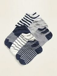 Old Navy Womens Novelty Ankle Socks 6 Pack: OS Blue Stripes NWT $9.99