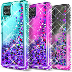 For Samsung Galaxy A12 Case Liquid Glitter Bling Tempered Glass Protector $10.99