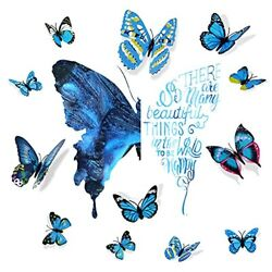 13 Pieces Creative Blue Butterflies Wall Stickers Inspirational Quotes Peel a... $8.82