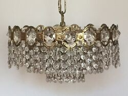 Antique Chandelier Brass Crystal 3 Tiers French Spanish 30cm Diameter. GBP 295.00