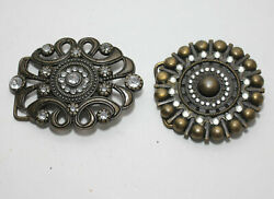 Two 2 Different Bling Brass Belt Buckles Fit 1 1 2quot; wide belt $9.00