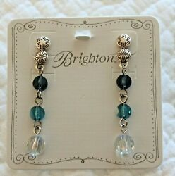 Brighton MARRAKESH NWT Blue and Clear Crystal Long Silver Post Earrings $28.99