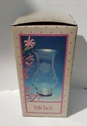 Vintage Crystal Frosted Cut 12 Inch Flower Vase Made in Romania $14.99