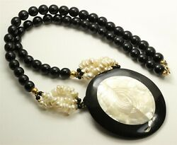 Vintage Large Mother of Pearl Pendant amp; Black Lucite Bead Necklace 26quot; $17.99